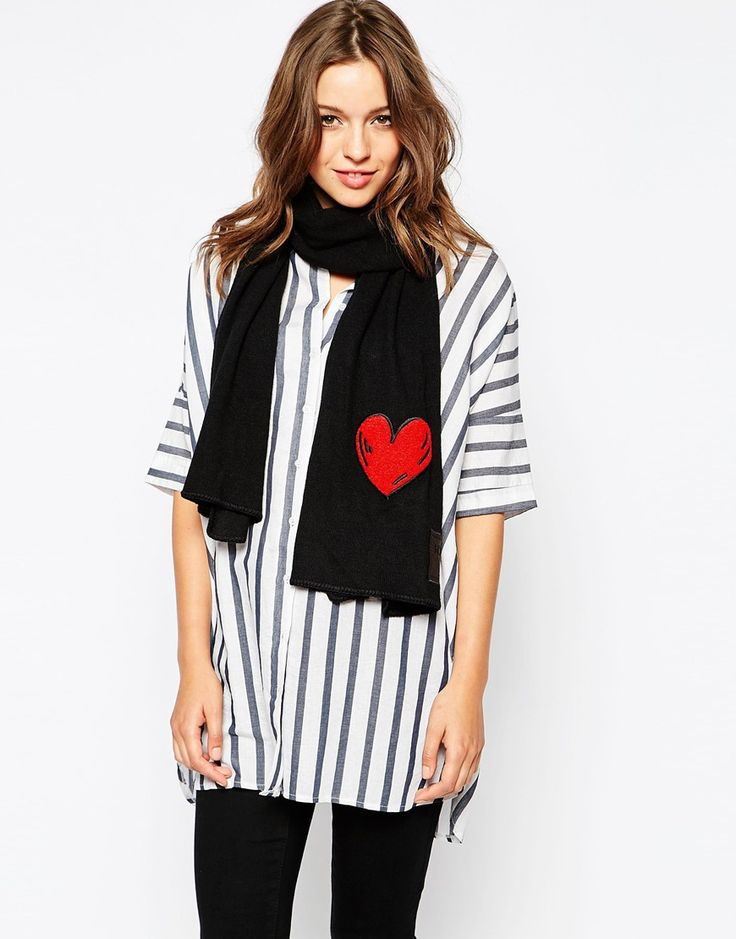 Image 1 ofBoutique Moschino Applique Heart Wool Scarf