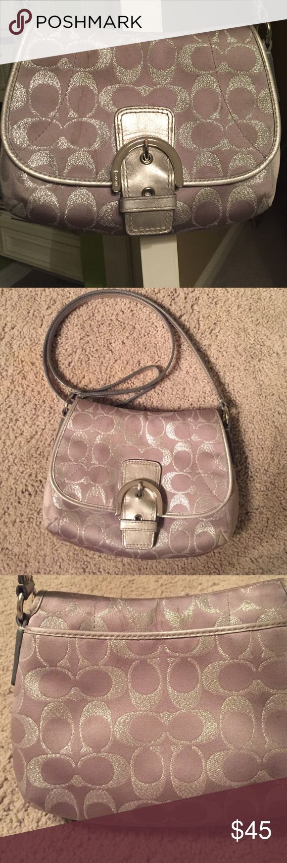 Silver coach purse 👛 The color is silver and it has a little sparkle on it. It is a small purse with one pocket on the back and one pocket on the inside. It is not in horrible connection but has 1-2 spots on it. But other than that it is perfect for carrying your little things! I am willing to adjust price some. Coach Bags Crossbody Bags