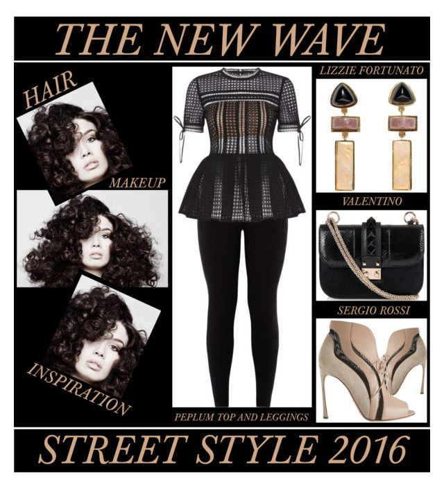 """""""The New Wave - Street Style 2016"""" by latoyacl ❤ liked on Polyvore featuring Sergio Rossi, Angelo, Valentino and Lizzie Fortunato"""