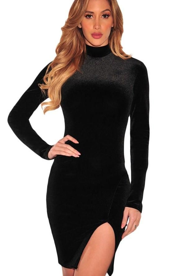 Robe Bodycon Velours Noir Col Roule Manches Longues Fendu Pas Cher www.modebuy.com @Modebuy #Modebuy #Noir
