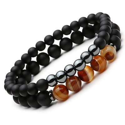 Mcllroy Women and Mens Pulseras Masculina Lucky Gem 2016 New Fashion Natural Black Mantra Prayer Beads Buddha Bracelets