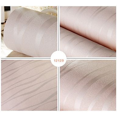 Wallpaper Stripe Creamy White Wave Designs With Golden Powder Finish Wall Covering Non-woven Paper Wall Art – AUD $ 84.36