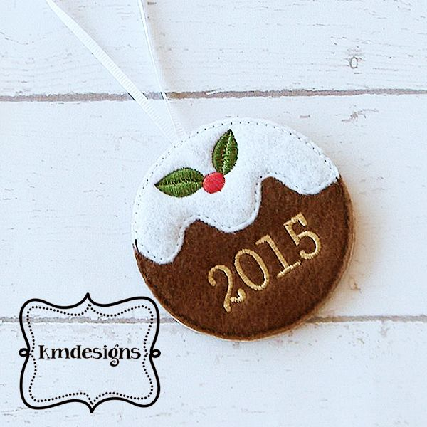 Christmas Holly Ornament 2015 - 2017 ITH Embroidery design