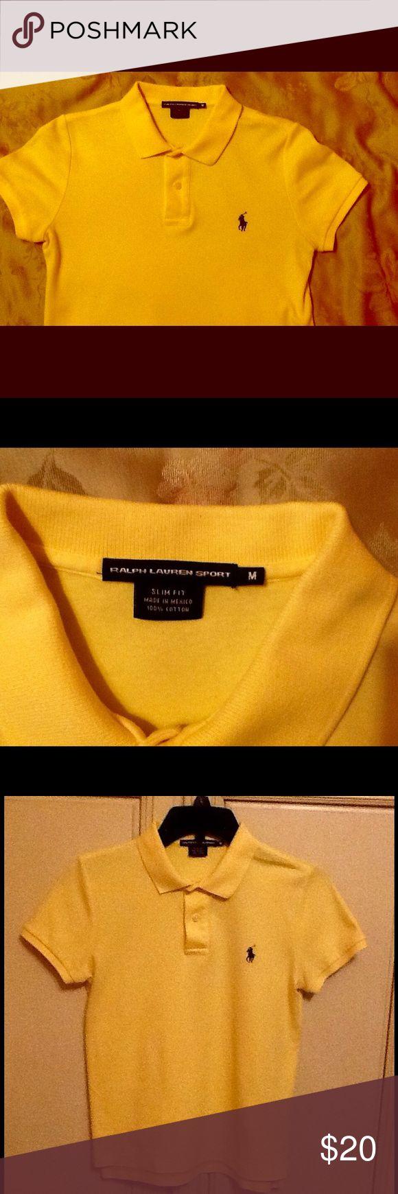 Ralph Lauren Sport polo shirt Yellow colored Ralph Lauren polo shirt with blue polo logo.  Slim fit style.  Excellent condition Ralph Lauren Sport Tops Tees - Short Sleeve