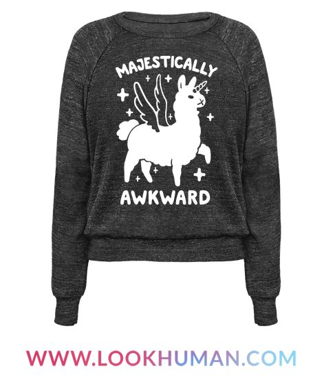 "This cute llama shirt is great for all awkward nerds who love unicorns and llamas and are ""majestically awkward!"" This unicorn t shirt is perfect for fans of llama unicorn, awkward llama, awkward shirts, funny llama, kawaii llama, and awkward jokes."
