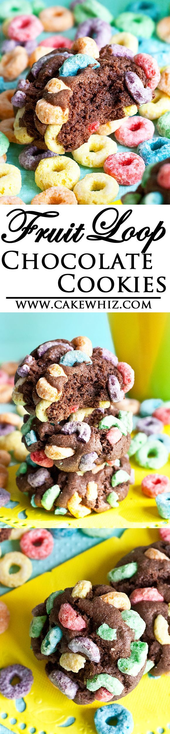 FRUIT LOOPS chocolate cookies... Rich, choco-licious cookies with a crunchy and fruity cereal top. From cakewhiz.com