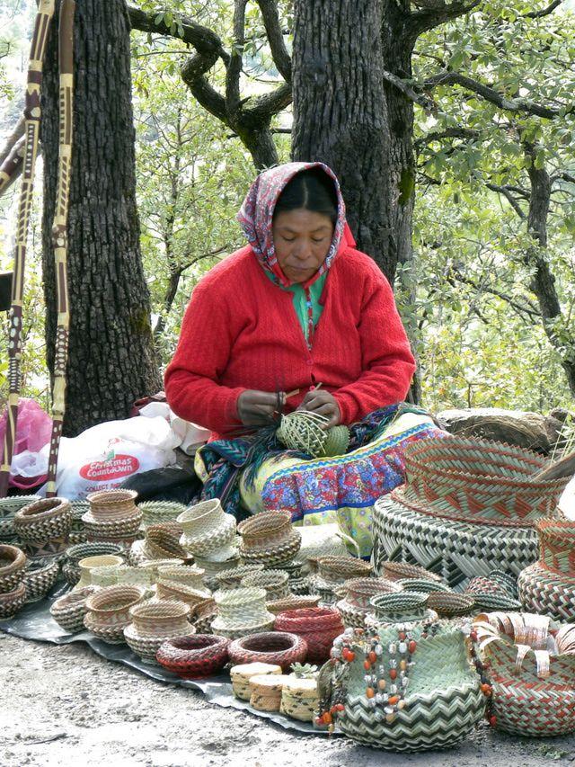 Copper Canyon, Mexico: Tarahumara Indian Woman Weaving Baskets at Copper Canyon