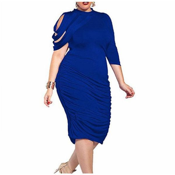 Women's Elegant Ruched Bodycon Party Cocktail Dress Plus Size (€13) ❤ liked on Polyvore featuring dresses, blue, plus size party dresses, white cocktail dress, white bodycon dresses, cocktail party dress and bodycon dress