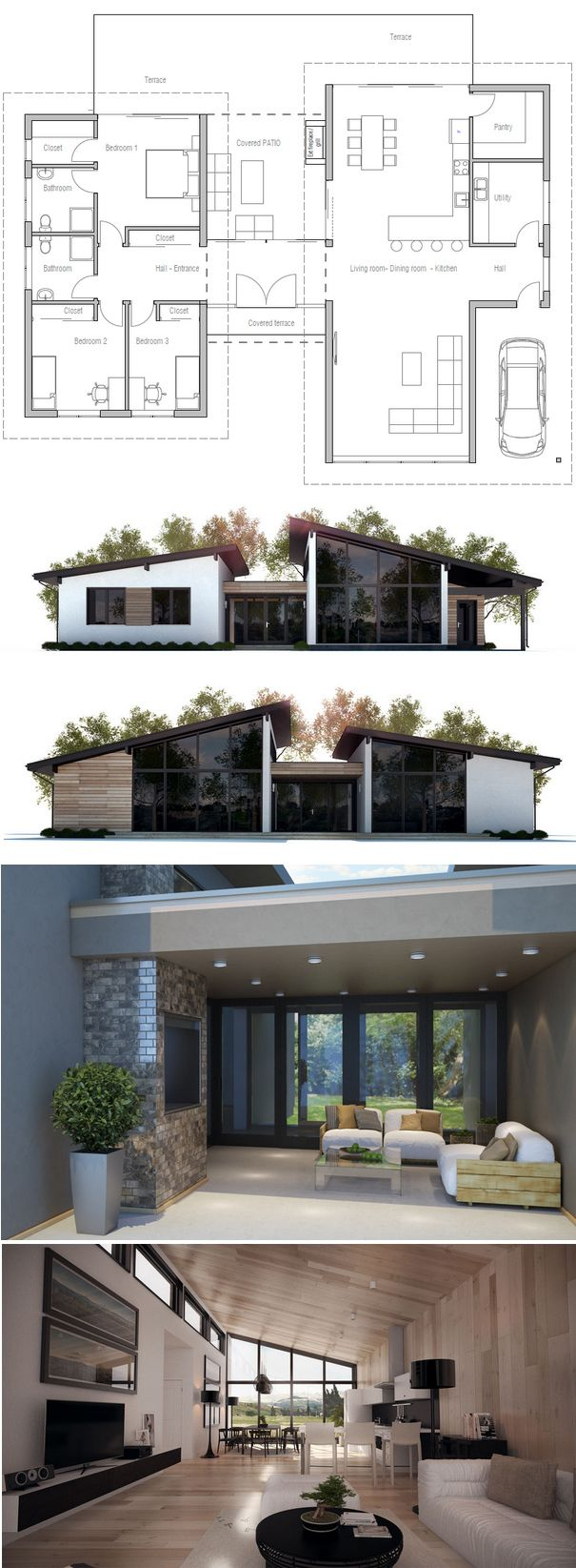 Things I love about this design: the dog walk concept, modern lines, car port that allows the home owner to enter the main area of the house but still be conveniently located to unload groceries.