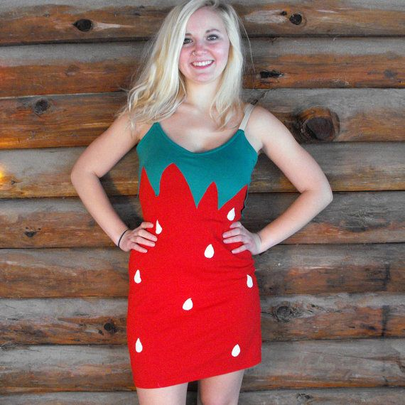 Strawberry Costume Halloween Fruit Dress by TheGoodWitchClothing
