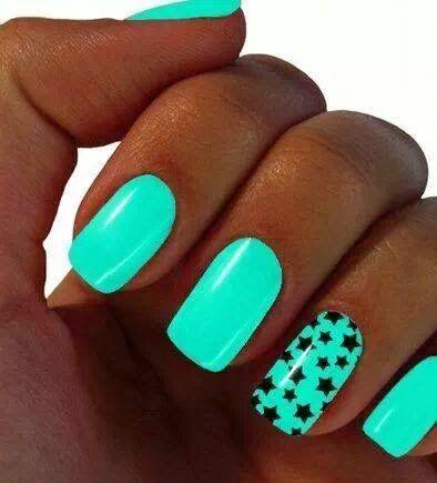 uñas+decoradas+verde+menta.jpeg (394×435)