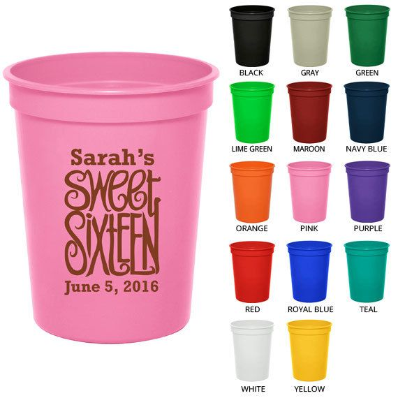 Birthday Stadium Cups (Clipart 19063) Sweet 16 - Party Favor Cups - Birthday Party Cups - Personalized Birthday Favors