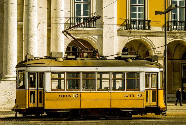 Old yellow Lisbon tram by Jakub Hajost on 500px