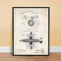 TESLA ALTERNATING ELECTRIC CURRENT GENERATOR INVENTION 1891 US PATENT ART POSTER PRINT 18X24 NICOLA AC GIFT UNFRAMED