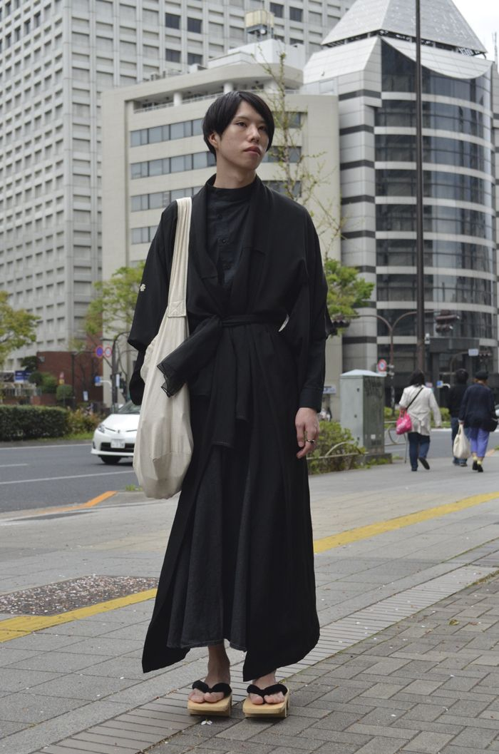 Digging the modern kimono robe in all black x wooden geta ...