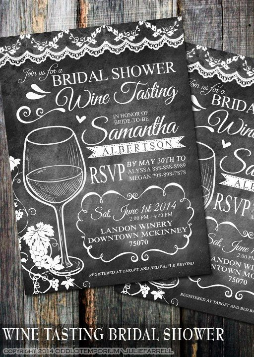 Wine Tasting Bridal Shower Invite Chalkboard by OddLotPaperie