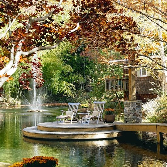 DecksThe Ponds, Lakes House, Water Gardens, Decks, Dreams, Sitting Area, Beautiful Places, Outdoor Spaces, Backyards