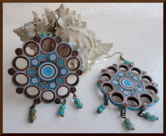 Handmade Paper Quilled Earrings. Paper Jewelry. Origami Jewelry