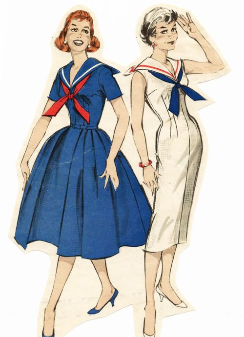Middy tops, the tops that sailors wore with the big square collars, inspired many tops and dresses from 1910s onward. These give you the wide skirted and sheath dress of the 1950s. 1950s Sailor Dress pattern