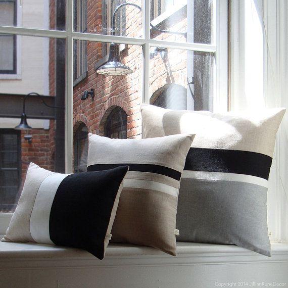 Black & White Chambray Striped Colorblock por JillianReneDecor