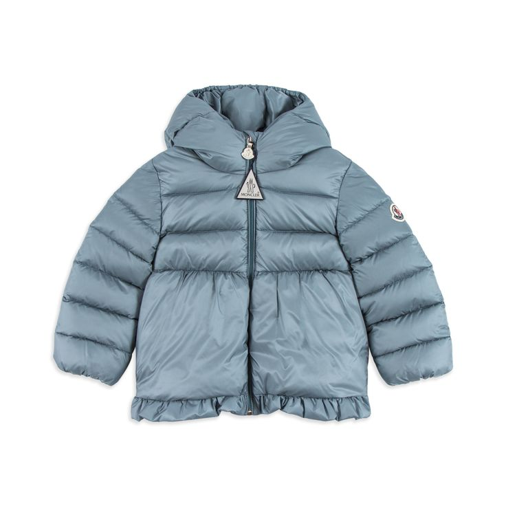 MONCLER Baby Girls 'Odile' Jacket - Blue Baby girls hooded jacket • Soft woven fabric • Warm down filling • Full zip fastening • Elasticated cuffs • Frilled hemline • Sleeve logo motif • Material: 100% Polyamide • Filling: 90% Goose Down, 10% Feathers • Code: MAYHAY