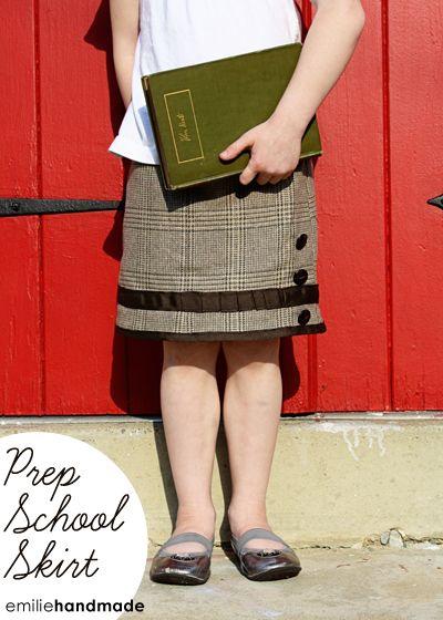 Men's blazer turned prep skirt. Maddy now has an adorable little skirt!