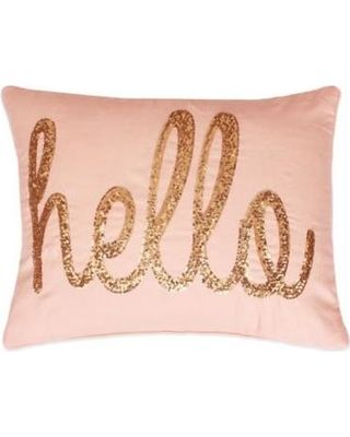 Thro Ltd. Hello Script Sequins Oblong Throw Pillow in Coral - Throw Pillows from Bed Bath & Beyond | BHG.com Shop