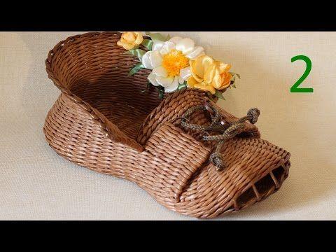 Видеоурок: мастерим корзинку-башмак из газетных трубочек. Часть 2 - Ярмарка Мастеров - ручная работа, handmade