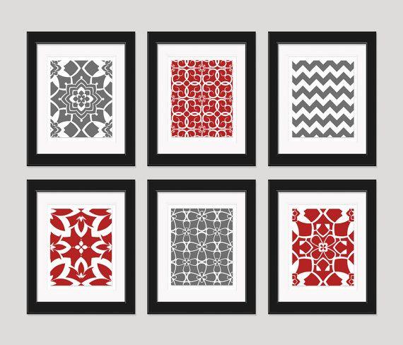 Red And Grey Art Prints, Modern Art Print Set, Home Decor, Set Of