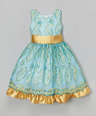 Loving this Blue Floral Sequin Dress - Infant, Toddler & Girls on #zulily! #zulilyfinds