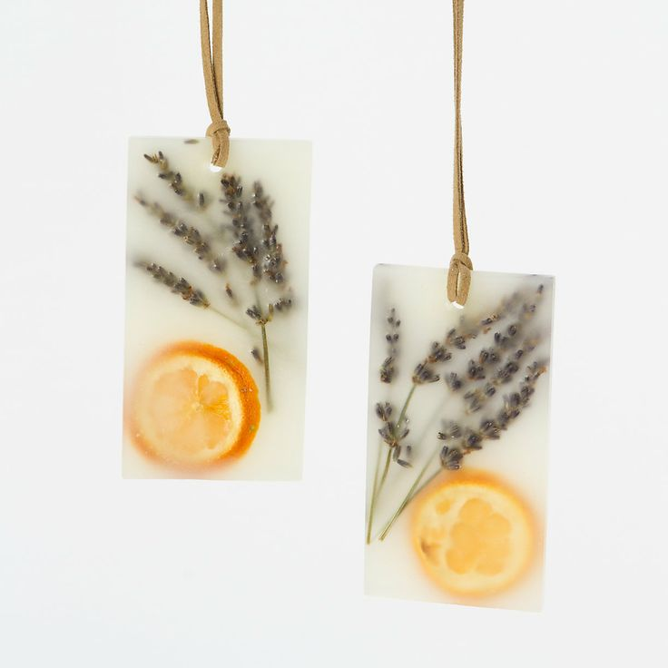 "Pressed Flower Sachets, Lavender & Tangerine ~ ""Tuck these botanical wax sachets into a drawer, or hang in a closet with the attached suede cord, to spread the refreshing scents of tangerine and lavender with notes of bergamot, violet, and purple sage."" ~ Set of 2 ~"