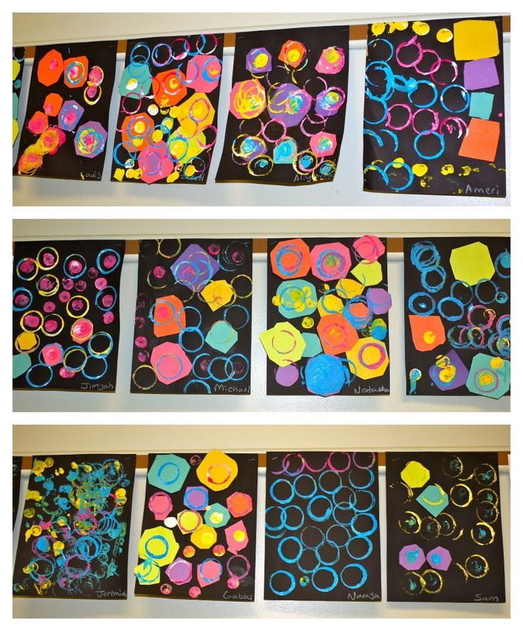 Cool shape paintings. The colors pop right off the page on black construction paper. Toilet paper rolls for circles.