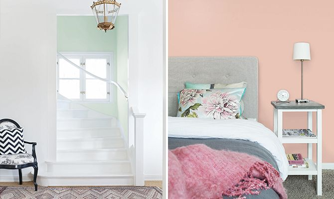 The pastel house. A soft mild pink in Alcro's wallpaint Old Rose is sophisticated together with the grey hues and the pink linen blanket from Balmuir. The pillows are by Designers Guild and the alarm clock by Arne Jacobsen.The staircase is paintid in a  mint tone, Alcro Misty Mint, that plays well with the white joinery.