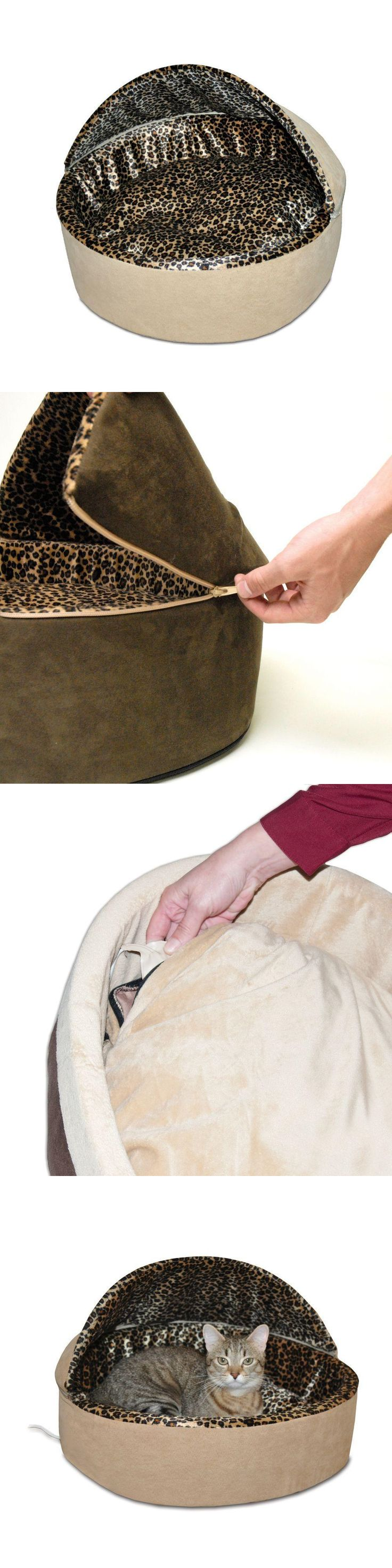 Nectar Feeders 42349: Kandh Pet Products Thermo-Kitty Deluxe Large Tan Leopard Hooded Heated Cat Bed -> BUY IT NOW ONLY: $78.45 on eBay!