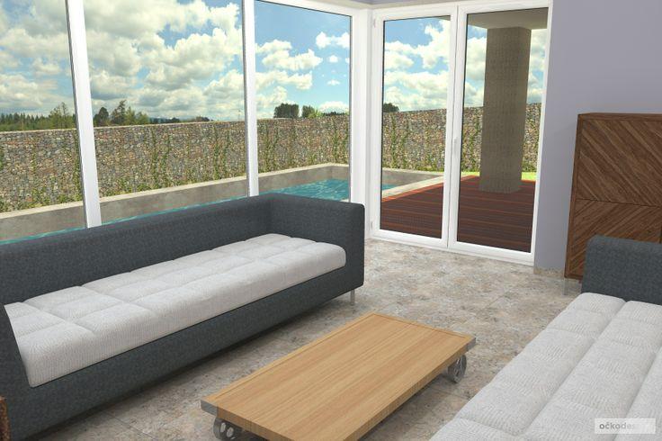 ...dostatek světla interiéru dodává hodně prosklených ploch. Petr Molek interiérový design www.ockodesign.cz
