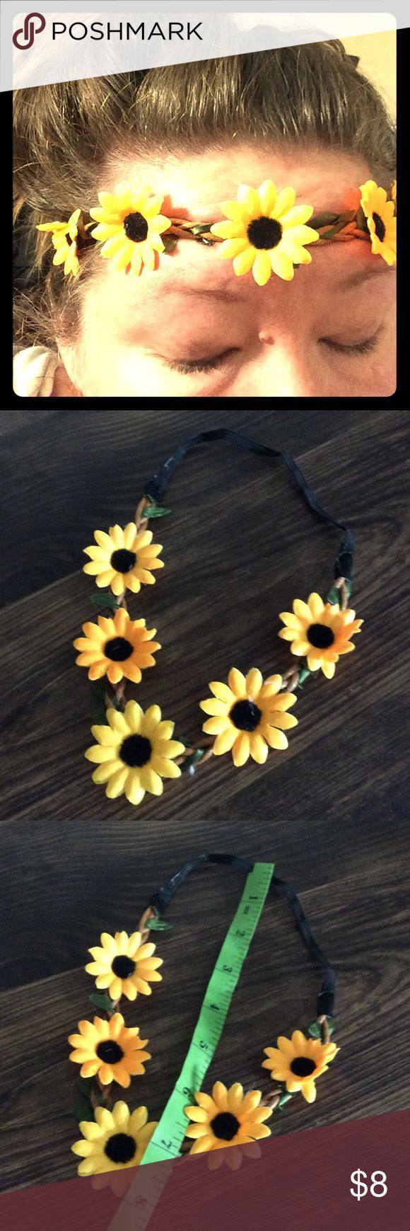 Sunflower Boho Chic Stretch Hair Band Headband This headband is beautiful! It stretches to fit virtually anyone. I actually have a large head and it fits me too. ☺️ Bundle up on our accessories and save! NeatandNice Accessories Hair Accessories