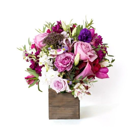 Send the Violet w/ Birch Vase bouquet of flowers from Flowers for Dreams in Chicago, IL. Local fresh flower delivery directly from the florist and never in a box!