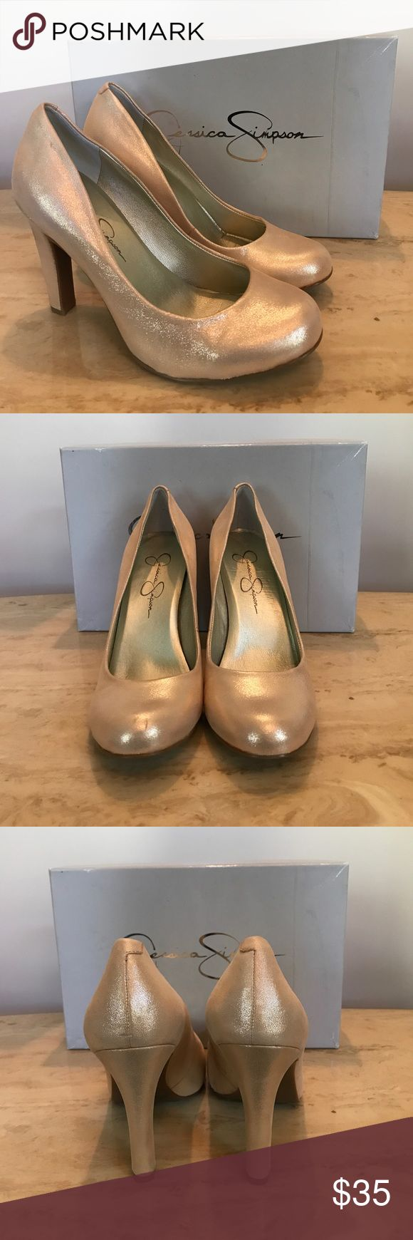 Jessica Simpson Jessica Metallic Pumps Light pink metallic round toe Pump by Jessica Simpson never been worn. Original box included. Price reflects imperfections shown in last two photos (small scuff on toe of right shoe visible when close up on toe and small stain on side of left shoe looks like it may have come from the manufacturing of shoe). Make an offer or bundle for additional savings. Jessica Simpson Shoes Heels