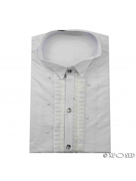 Mens White Fitted Disco 70s Wedding Fancy Dress Party Vintage Wing Collar Shirt