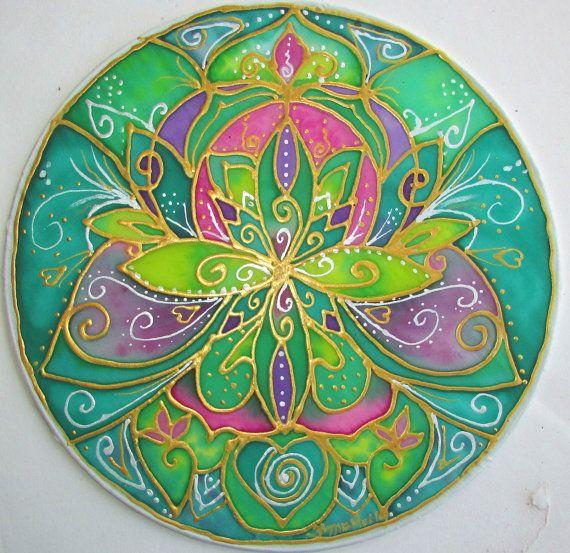 Mandala art Healing heart mandala heart by HeavenOnEarthSilks, $45.00