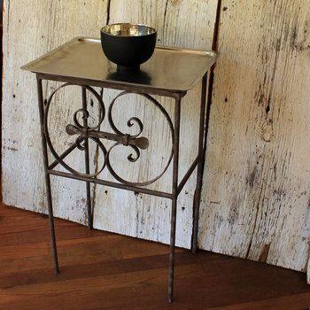 Side table SHAMA/Aluminum tray - Upcycled from a 1900 balcony found in Lebanon