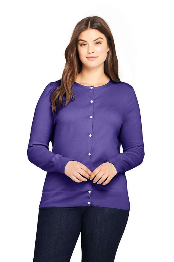 16e9a4df4791 Women's Plus Size Supima Cotton Cardigan Sweater from Lands' End ...