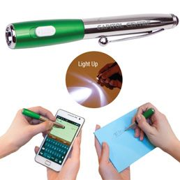 O119GN LED flashlight Pen and stylus all in one