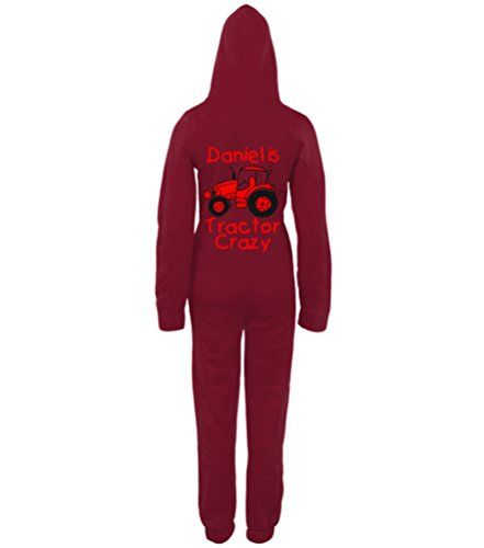 PERSONALISED TRACTOR CRAZY (DESIGN 2)' with NAME Burgundy Onesie with Black & Red print.