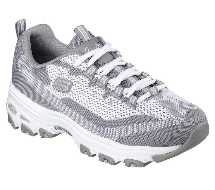 11955 Gray Dlite Skechers Shoe Women Memory Foam Soft Flat Knit Fabric Sport