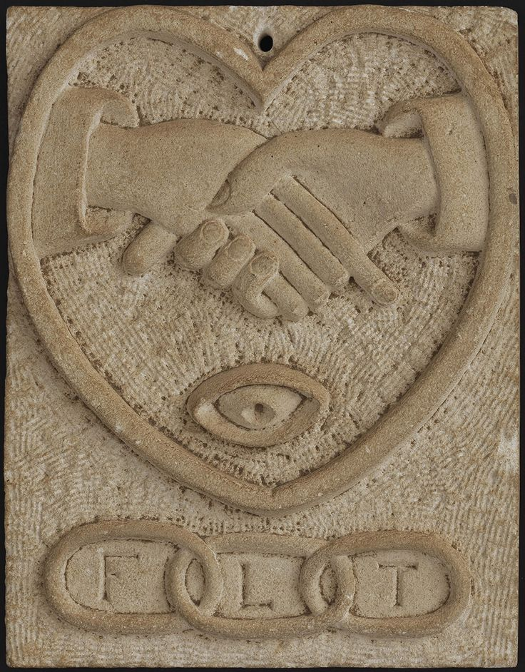 """INDEPENDENT ORDER OF ODD FELLOWS PLAQUE/ Artist unidentified, United States, 1860–1900, plaster, 81/2 x 61/2x13/16"""", collection American Folk Art Museum, New York, gift of Kendra and Allan Daniel, 2015.1.107. Photo by José Andrés Ramírez"""
