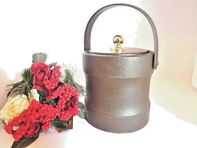 Ice Bucket Brigade Morgan Barware VTG 1960s Brown Leatherette Bar GIft for Him #MorganBucketBrigade
