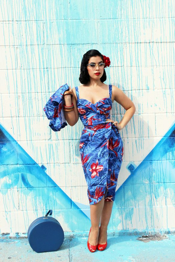 PUG red and blue sarong dress. I love tropical prints in this color scheme - such rare finds!