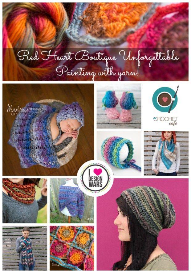 Beautiful crochet designs using Red Heart's Boutique Unforgettable yarn.