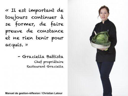 « Il est important de toujours continuer à se former, de faire preuve de constance et ne rien tenir pour acquis. » — Graziella Battista - La Revue HRI : HOTELS, RESTAURANTS et INSTITUTIONS